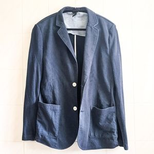 H&M Navy Blue Casual Buttoned Blazer